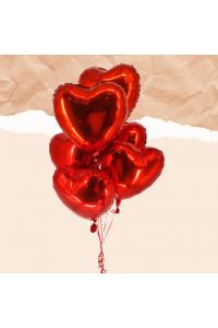 6pc Heart Foil Balloon Bouquet