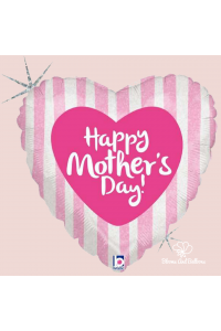 """18"""" Happy Mother's Day Pink Stripes"""