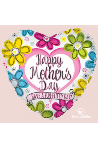 """18"""" Mother's Day Ink Flowers Heart"""