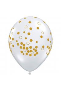 """11"""" Gold Printed Confetti Latex"""