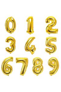 "17"" Gold Number Foil Balloons"