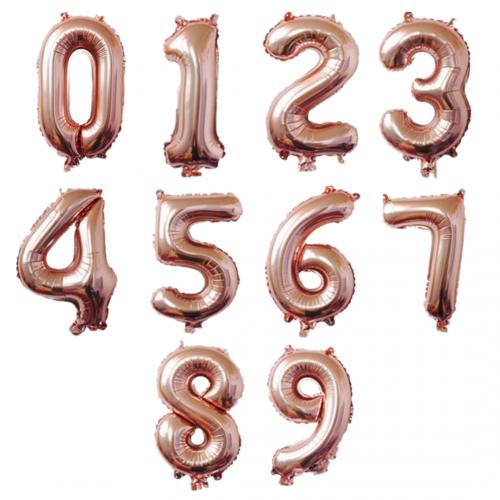 """17"""" Rose Gold Number Foil Balloons"""