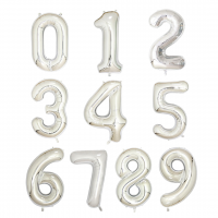 """40"""" Silver Number Foil Balloons"""