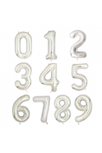 """17"""" Silver Number Foil Balloons"""