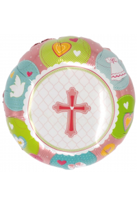 "18"" Baby Shower Baby Girl Cross"