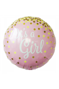"18"" Baby Shower Baby Girl Pink and Gold Confetti"