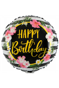 "18"" Birthday Black Floral"