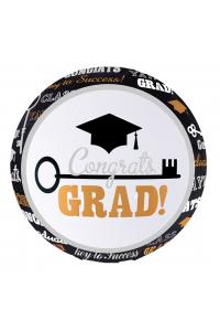"""18"""" Congrats (Grad) Black and White"""