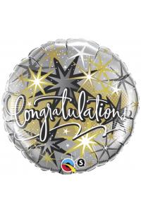 "18"" Congratulations Black Sparkle"