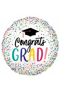 "18"" Congrats Grad White Polka Dots"