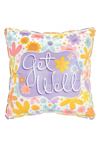 """18"""" Get Well Soon Pastel Square"""