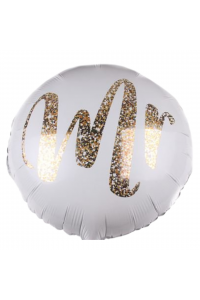 """18"""" Wedding White and Gold Mr"""