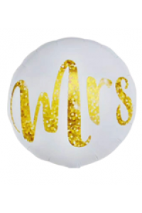 """18"""" Wedding White and Gold Mrs"""
