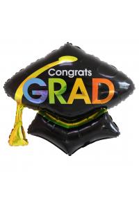 """26"""" Congrats Black Grad Cap"""